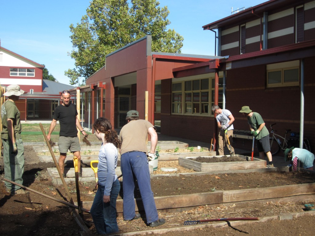 The Gardening Club establishing our new garden beds in March 2013… what a difference a season makes!